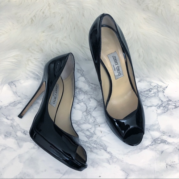 1af1a736155 Jimmy Choo Quiet Patent Leather Peep Toe Pump